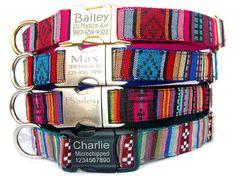 Personalized ID dog collar Engraved metal buckle pet ID tag dog collar Tribal Boho Bohemian Aztec embroidered dog collar Girl boy dog collar