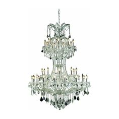 """Maria Theresa 46"""" Crystal Foyer Pendant Chandelier with 36 Lights - Chrome Finish and Clear / Elegant Cut Crystal"""