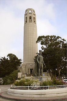 The art-deco Coit Tower, Pioneer Park, San Francisco, California with statue of Christopher Columbus. by GFDL Coit Tower San Francisco, San Francisco City, San Francisco Travel, San Francisco California, California Dreamin', Northern California, Statues, Places To Travel, Places To Visit