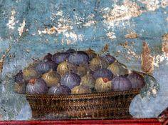 Fresco, Pompeii Basket of figs: Roman fresco (before 79 AD) from the Villa of Poppea in Oplontis (Pompei region) via Wikipedia.