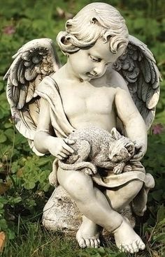 "11"" Joseph's Studio Cherub with Kitten Outdoor Garden Statue by Roman. $44.99. From the Garden Statuary Collection by Joseph's Studio Item #60426Features a distressed weathered finishFor indoor/outdoor useFree standing Dimensions: 11""H x 8""W x 6.5""DMaterial(s): resin/stone mix. Save 36% Off!"
