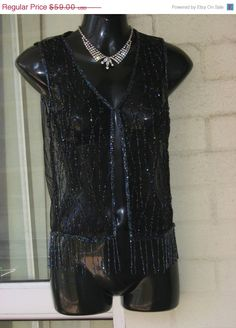 ON SALE 25OFF...Vintage Stunning Sheer Black Net by GlamourZoya