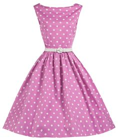 Lindy Bop 'Sandy' Pink Polka Dot Vintage 1950's Swing Dress at Amazon Women's Clothing store: