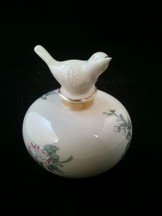 Lenox Serenade Perfume Bottle with Figural Bird Stopper and Dogwood Pattern