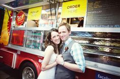 Taco Food Truck for reception food. People order at the taco truck. Maybe have two options (two taco or one taco and one more american) to slow traffic flow. Food Truck Wedding, Beer Wedding, Taco Stand, Today Is National, Reception Food, Catering Companies, Halibut, Quesadillas, Wedding Trends