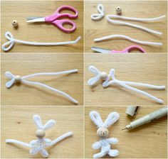 Handicrafts with pipe cleaners for Easter - 20 creative handicraft ideas for children - Instructions for bunny crafts with pipe cleaner - Diy Home Crafts, Creative Crafts, Crafts For Kids, Arts And Crafts, Summer Crafts, Fall Crafts, Bunny Crafts, Easter Crafts, Easter Ideas