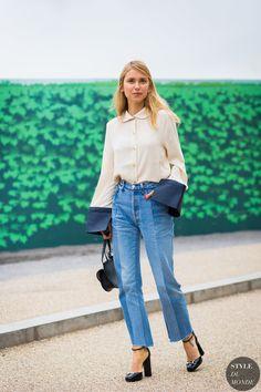 Pernille Teisbaek of Look De Pernille wearing J.W.Anderson shirt, Vetements mullet jeans, Gucci black heels, Chloe bag, Eddie Borgo earrings before Erdem fashion show.