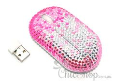 Pretty Pink Wireless Crystal Computer Mini Mouse for any Notebook, Laptop or Desktop PC. Decorated in Rhinestone.