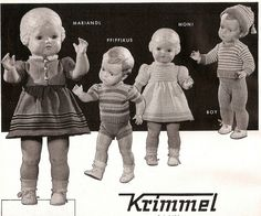 1955 Krimmel knitwear and Turtle dolls| I often see these in photos and wonder what they are