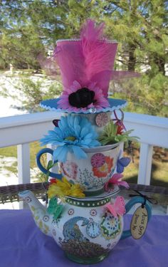 Items similar to Mad Hatter Whimsical Stacked Teapot & Teacup Centerpiece high) - Alice in Wonderland Birthday, Tea Party, Bridal Shower, Party Prop on Etsy Teapot Centerpiece, Party Table Centerpieces, Tea Party Table, Tea Party Decorations, Teacup Centerpieces, Mad Hatter Party, Mad Hatter Tea, Mad Hatters, Party Props