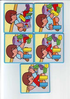 Ilustraciones infantiles que se pueden imprimir y utilizar como fichas para la elaboración de secuencias temporales. También se pueden usar las imágenes acompañadas de pictogramas que expliquen las acciones para estimular la comprensión y el lenguaje oral. Pueden servir para elaborar descripciones o cuentos con pictogramas. Sequencing Pictures, Sequencing Cards, Story Sequencing, Bingo Cards, Gross Motor Activities, Speech Activities, Activities For Kids, Games For Toddlers, Therapy Tools