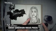 Sarah Sanderson from Hocus Pocus - Bad Ass Ladies of Horror - Inktober 2018 - Timelapse Art Hocus Pocus, Inktober, Badass, Horror, Draw, Lady, Sketches, Painting, To Draw