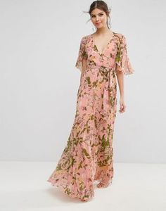 $92 ASOS Floral Pleated Flutter Sleeve Maxi Dress