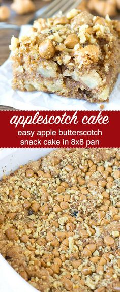 Apples and butterscotch = Applescotch! An easy and unique apple butterscotch snack cake recipe with a delicious flavor. Apple Butterscotch Snack Cake {Easy 8x8 Unique Cake Recipe} via @thebestcakerecipes