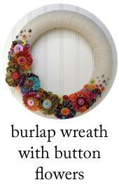 button wreath with frayed fabric flowers
