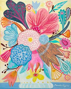 Flowers N.1 - 11 x 13 inches aprox. (28 x 34 cm) Print.  art painting flowers, bohemian, folk, funky, naive, primitive.