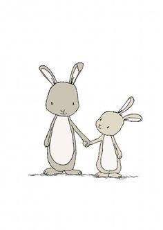 Bunny Art Print...Take My Hand Little Bunny...Woodland Nursery -- Nursery Art Print, Children Art Print -- Kids Wall Art