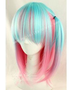 Light Blue Pink Bobo Lolita Wig #lolita  #wig