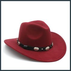 New Vintage Winter Wool Western Cowboy Fedora Hat For Womem Men Wide Brim  Cowgirl Jazz Cap With Leather Toca Sombrero Cap c922fc1606c