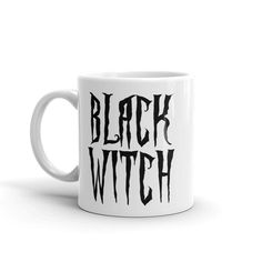 Black #witch #coffee #mug, black and white magical font, goth style  Whether you're drinking your morning coffee, your evening tea, or something in between – this mug's for yo... #sexy #art #style #design #prints #goth #magic #mugs