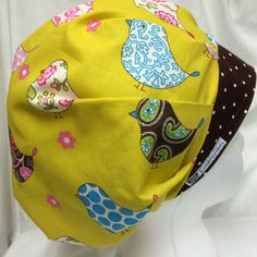 c76cb31a17 Surgery Scrub Hat Bouffant OR Cap Pink Brown Birds FALL Polka Dot  Adjustable Toggle Cordlock by