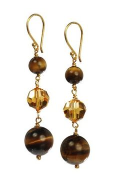 Linear Tigers Eye and Faceted Glass Bead Drop Earrings Amazon Curated Collection. $16.00. Made in China. The natural properties and composition of mined gemstones define the unique beauty of each piece. The image may show slight differences to the actual stone in color and texture.