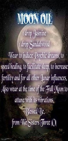 Moon Oil- Pinned by The Mystic's Emporium on Etsy - Witchy Essential Oil Blends, Essential Oils, Wicca Witchcraft, Wiccan Rituals, Moon Magic, Practical Magic, Book Of Shadows, Paranormal, Spelling