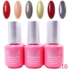 Perfectsummer 6pcs Mixed Color UV Gel Polish Soak Off Nail Art 8ml/pc * You can get additional details at the image link.