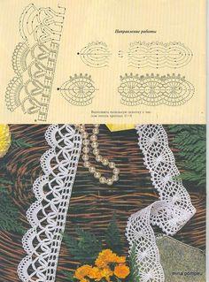 Picasa Web Albums- great filet crochet edging ideal for skirt,dress,or blouse bottom. Many Free crochet edging diagram, chart patterns. World crochet: Crocheted lace 8 Crochet Edging Patterns, Crochet Lace Edging, Crochet Motifs, Crochet Borders, Crochet Diagram, Crochet Chart, Lace Patterns, Thread Crochet, Filet Crochet