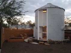 A 340 sq ft home, made from a former grain silo, in Phoenix, Arizona.