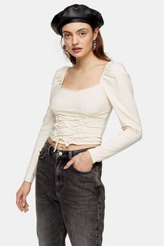 Long Sleeveswith Corset Detail At Bodicecup Detailing At Buston-Trend Cotton, Elastanemachine Wash Topshop Online, Leggings Fashion, Corset, Women Wear, Mini Skirts, Long Sleeve, Sleeves, Clothes, Kleding