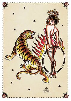 Tiger Tiger by Susana Alonso Pin-Up Girl Tattoo Canvas Art...