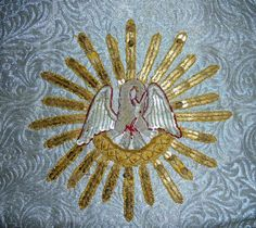EXQUISITE LARGE 19th CENTURY RAISED GOLDWORK EMBROIDERED VESTMENT PANEL 1.