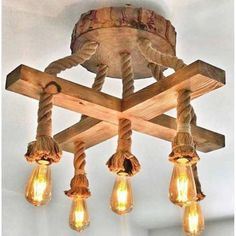 Wooden and rustic rope chandelier, Farm house lighting, american style dining room lights, rope-wood pendant light fixture, pendant light Wooden Chandelier, Wooden Lamp, Farmhouse Lighting, Rustic Lighting, Rope Lighting, Farmhouse Lamps, Chandelier Lighting, Rustic Farmhouse, Barn Wood