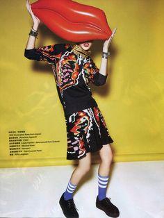 The Stripe Thigh-High Sock by #AmericanApparel featured in Grazia #AAlegwear #Grazia