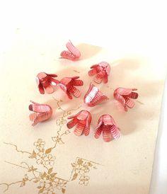 Retro Vintage Pink Annodised Aluminium Bell Flower Bead Cap - Jewellery Art & Sewing Supplies
