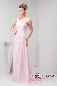c4f28afc0c7 Sash Beads One-Shoulder Pink Chiffon Aplliques Cheap Sleeveless Long  Bridesmaid Dresses Item Code  WD4-1143. Cheap Wedding ...