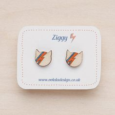 David Bowie studs - silver plated - Ziggy Stardust cat