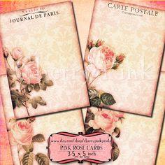 digital collage PINK ROSE background sheet, 4 designs,  scrapbook supplies collage digital download 4.00