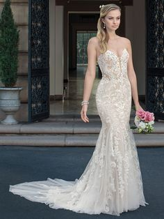 Casablanca spring 2018 strapless sweetheart neckline full embellishment elegant fit and flare wedding dress medium train (maisie) mv -- The Spring 2018 Casablanca Bridal Collection is All Kinds of Gorgeous Backless Mermaid Wedding Dresses, Beaded Wedding Gowns, Sweetheart Wedding Dress, Bridal Wedding Dresses, Dream Wedding Dresses, Bridal Style, Lace Wedding, Casablanca Bridal, Vestidos Sexy