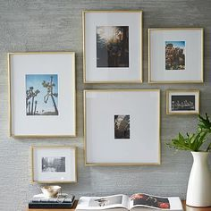Gold Frames $30-$80 each http://www.westelm.com/products/gallery-frames-polished-brass-w1683/?pkey=cpicture-frames%7C%7C