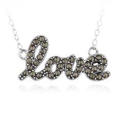 Glitzy Rocks Sterling Silver Marcasite Love Necklace Women's