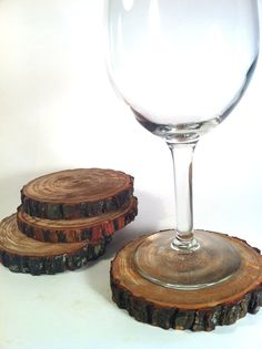 Tree Slice Coasters Rustic Coasters Wooden Costers by Worleys, $18.20