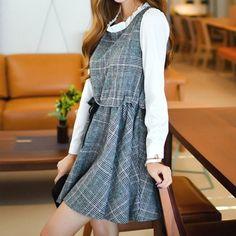 Grey Preppy Style Plaid Dress SP178834