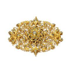 Oro y diamantes joya, ibéricos, siglo 18 17  temprano, de diseño abierto trabajo de la voluta, engastado con diamantes de rosa, atrás perseguido.