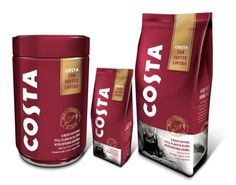 Slice Design has created the branding and packaging for Costa Roast and Ground Coffee. Coffee Pods, Coffee Cafe, Coffee Beans, Coffee Shop, Drip Coffee, Coffee Packaging, Food Packaging, Packaging Design, Product Packaging