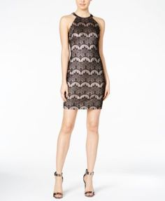 GUESS Lace Halter Bodycon Dress | macys.com