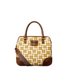 Orla Kiely: 'Flower Shadow Dot' print textured vinyl bag with leather trims and handles. Small leather logo pocket detail on front. Zip and popper to close. Inside details include sand colored linear stem cotton jacquard lining, middle dividing compartment and small zip pocket, key chain and mobile pockets. Includes an adjustable, detachable webbing strap so that the bag can be worn across the body (max 44in).