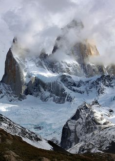 The Fitz Roy mountain range in Patagonia, near the town of El Chalten, Argentina.  I waited for hours, but the clouds never completely cleared...