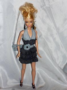 Barbie Doll Clothes Lt Blue Denim and Grey by NiteBabyDollWorld, $12.50